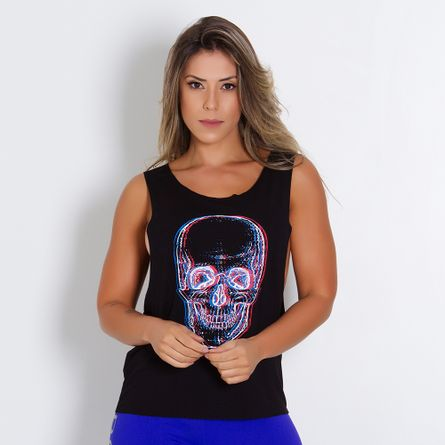 Camiseta-Fitness-Cava-Larga-Skull
