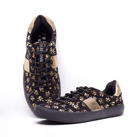 Tenis-HB-Be-Strong-Skull-Dourado