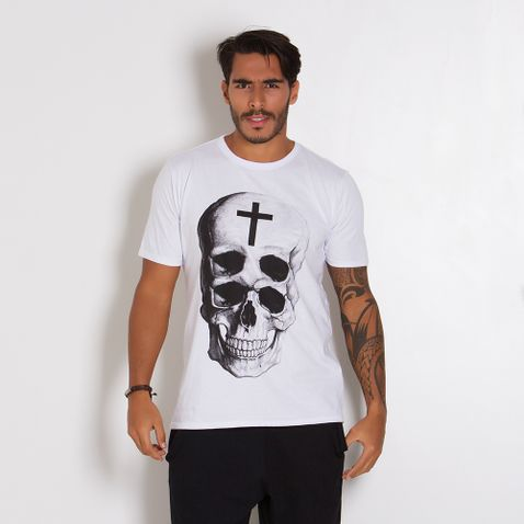 Camiseta-Masculina-Caveira-Dupla
