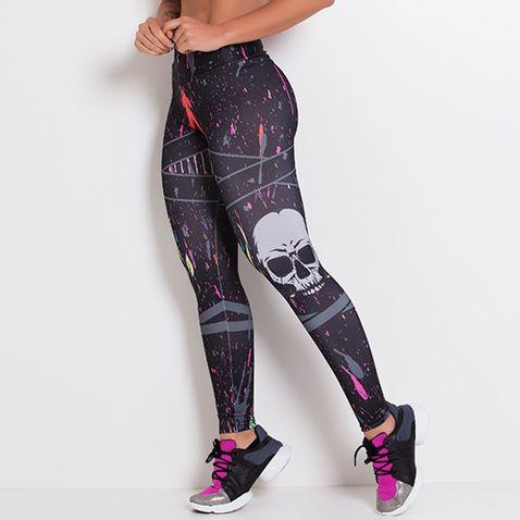 Legging-Fitness-Sublimada-Gray-Skull