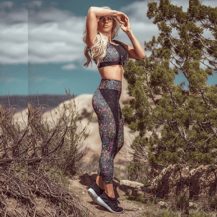 Legging-Fitness-Floral-Black