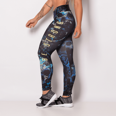 Legging-Fitness-Sublimada-Be-Strong-Yellow
