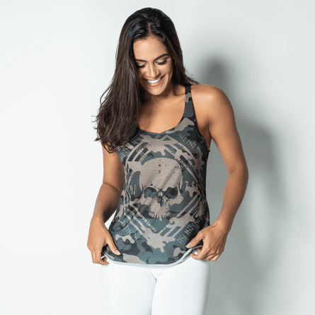Camiseta-Fitness-Estampada-Camouflaged-Skull