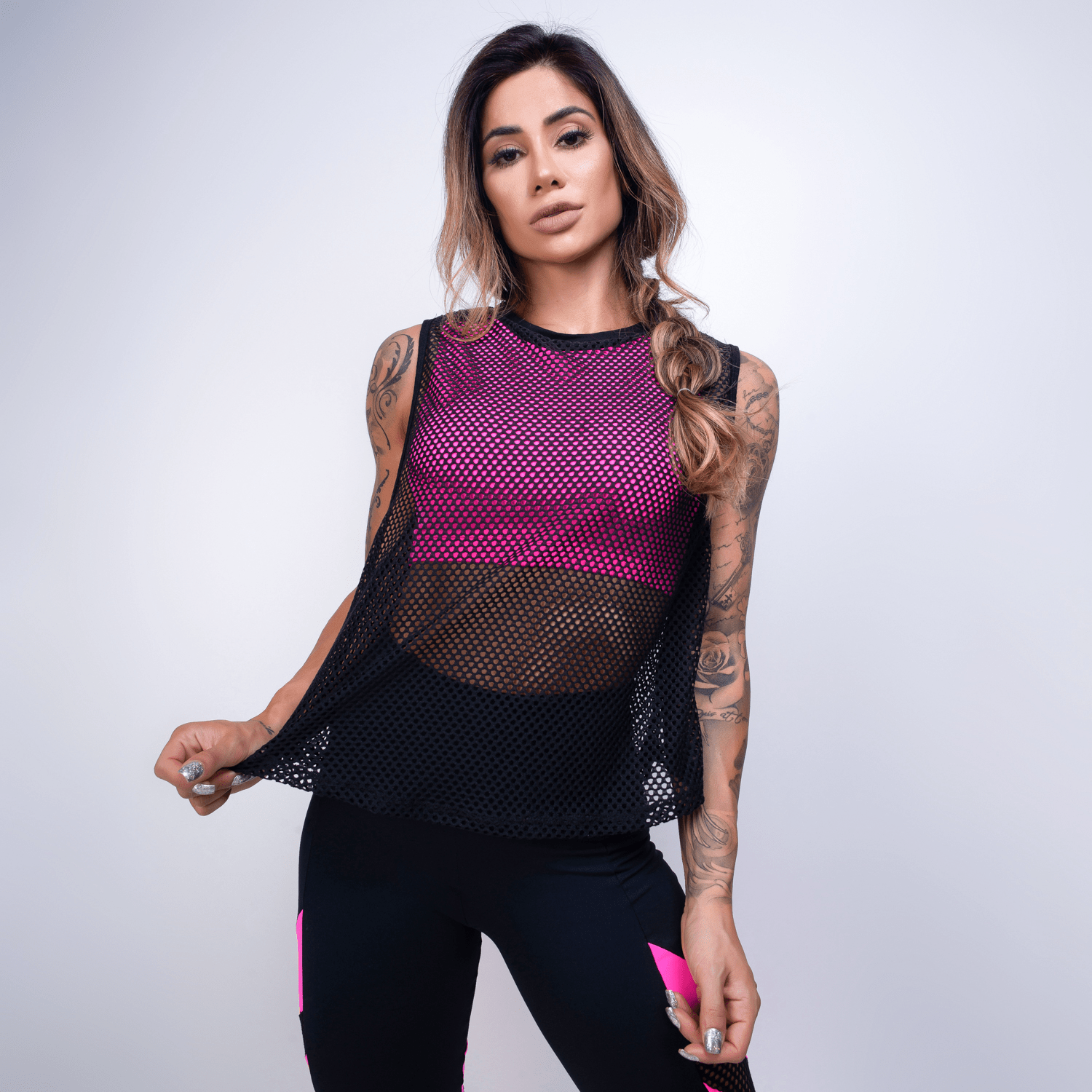 5b49b5b0c Blusa Fitness Tela com Top Embutido Rosa - Honey Be