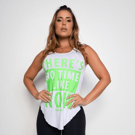 Camiseta Fitness Viscolycra No Time Branca CT299