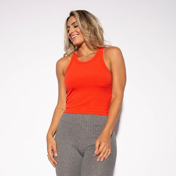 Cropped-Fitness-Canelado-Laranja-CR055-