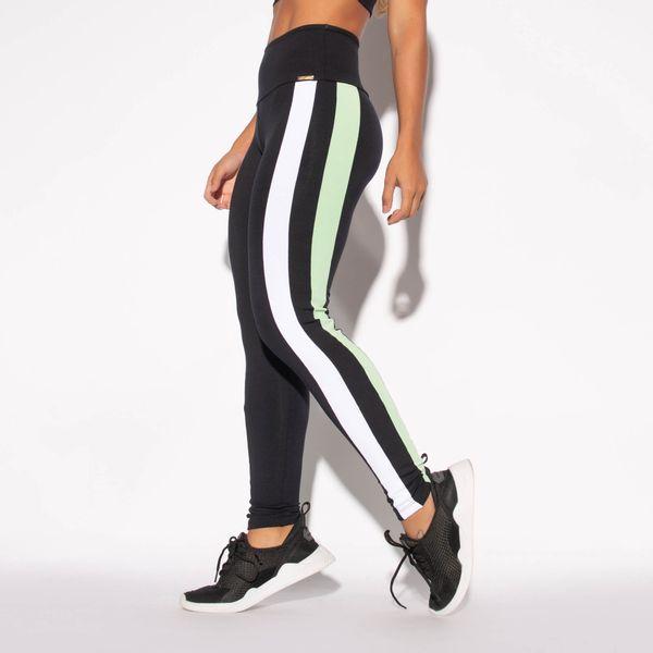Legging-Preta-Poliamida-Recorte-Verde-e-Branco-LG1449