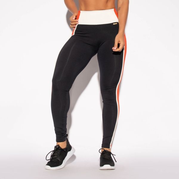 Legging-Preta-Poliamida-Recorte-Cos-Laranja-LG1461
