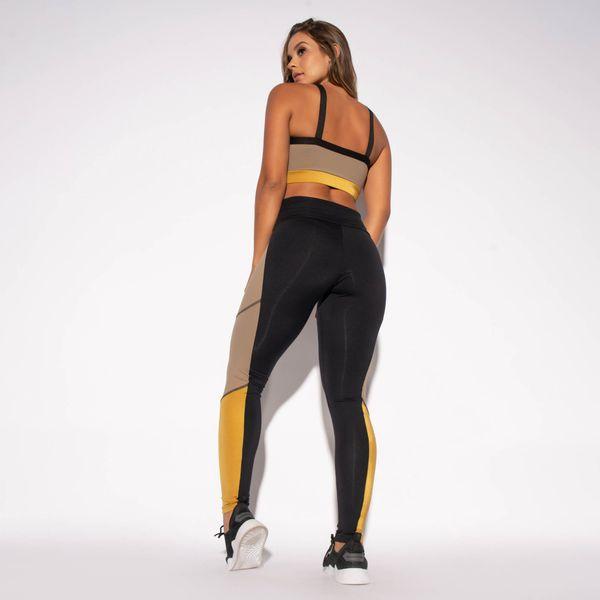 Legging-Preta-Poliamida-Recorte-Lateral-Marrom-e-Dourado-LG1463