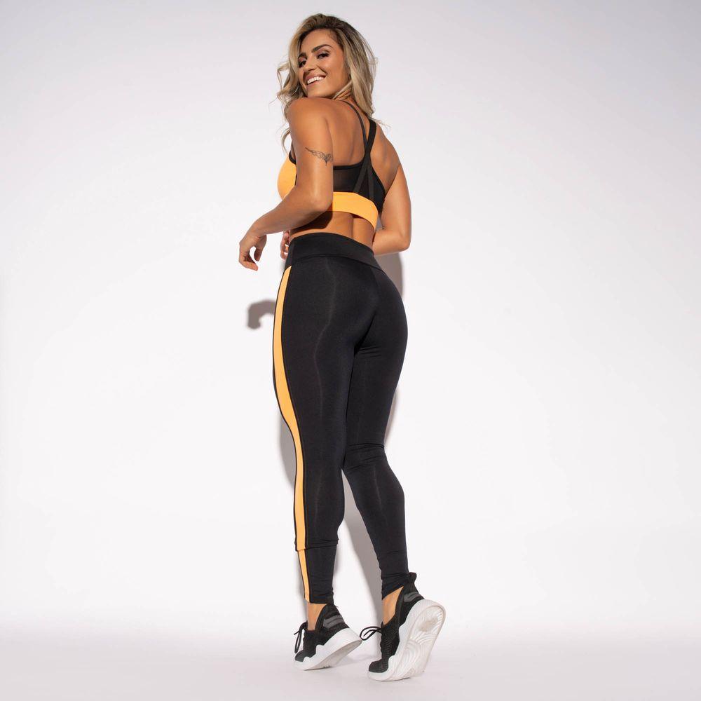 Legging-Fitness-Preta-Poliamida-Recorte-Lateral-Laranja-LG1450
