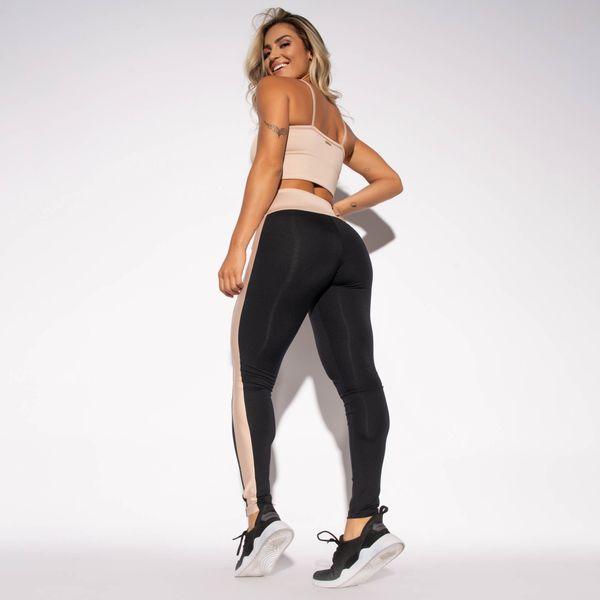 Legging-Preta-Poliamida-Recorte-Bege-LG1478