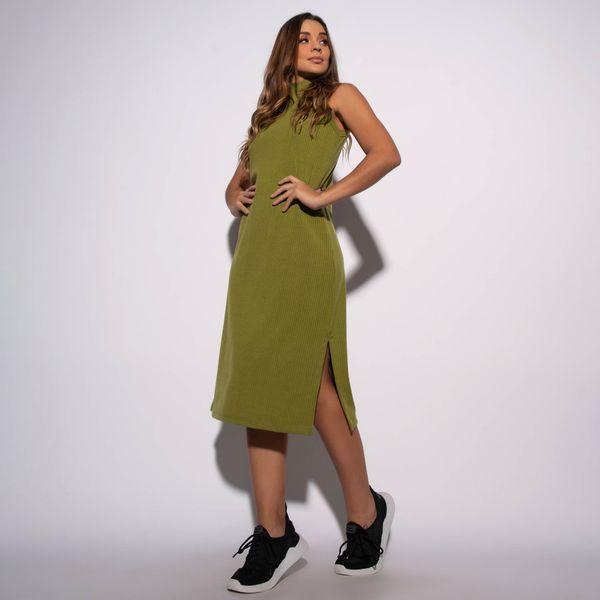 Vestido-Canelado-Verde-Militar-com-Fenda-VT063