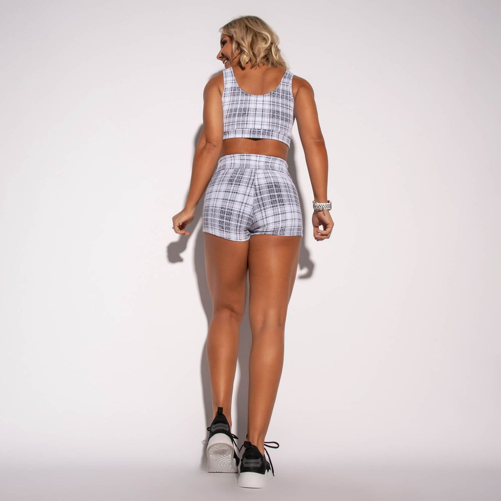Short-Fitness-Jacquard-Chess-Branco-SH317